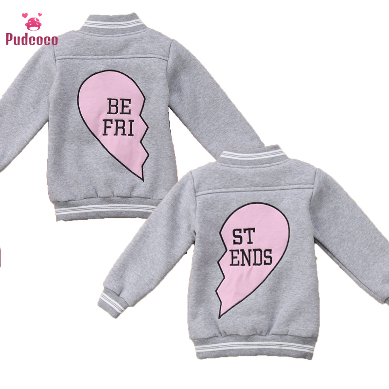 Pudcoco Autumn Winter Kids Child Baby Cats Boy Girl Windbreaker Warm Baseball Toddler Jakets Letter Best Friend Tops Outerwear image