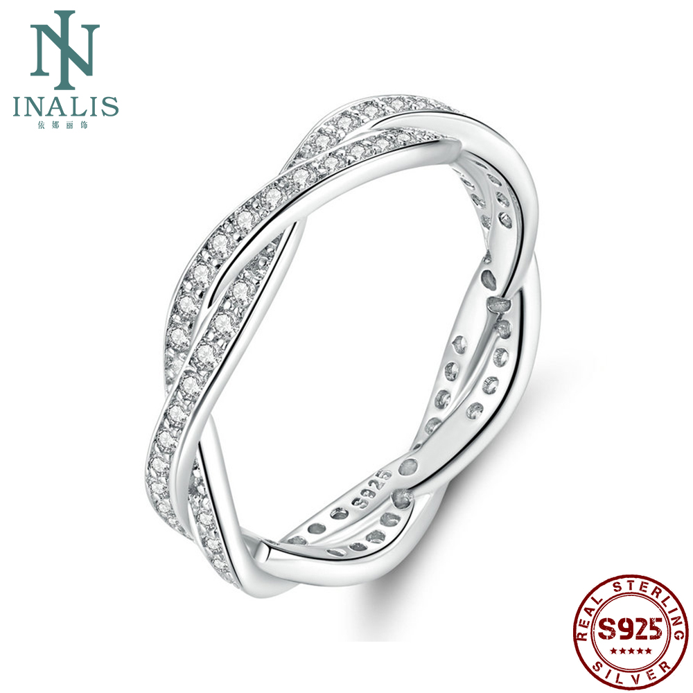 INALIS Sterling 925 Silver Ring 8 Style Braided Pave Leaves Princess Queen Crown Twist Of Fate Stackable Rings ANNIVERSARY SALE