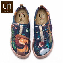 UIN Timid Lion Design Painted Canvas Shoes Kids Easy Hook & Loop Sneakers for Girl/Boy Fashion Children Casual Shoes Lightweight(China)