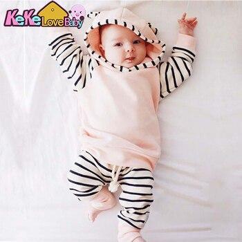 2020 Autumn Baby Boy Clothing Set Long Sleeve Warm Hooded T-shirt+Pants Infant 2pcs/suit Newborn Cute Baby Girls Clothes
