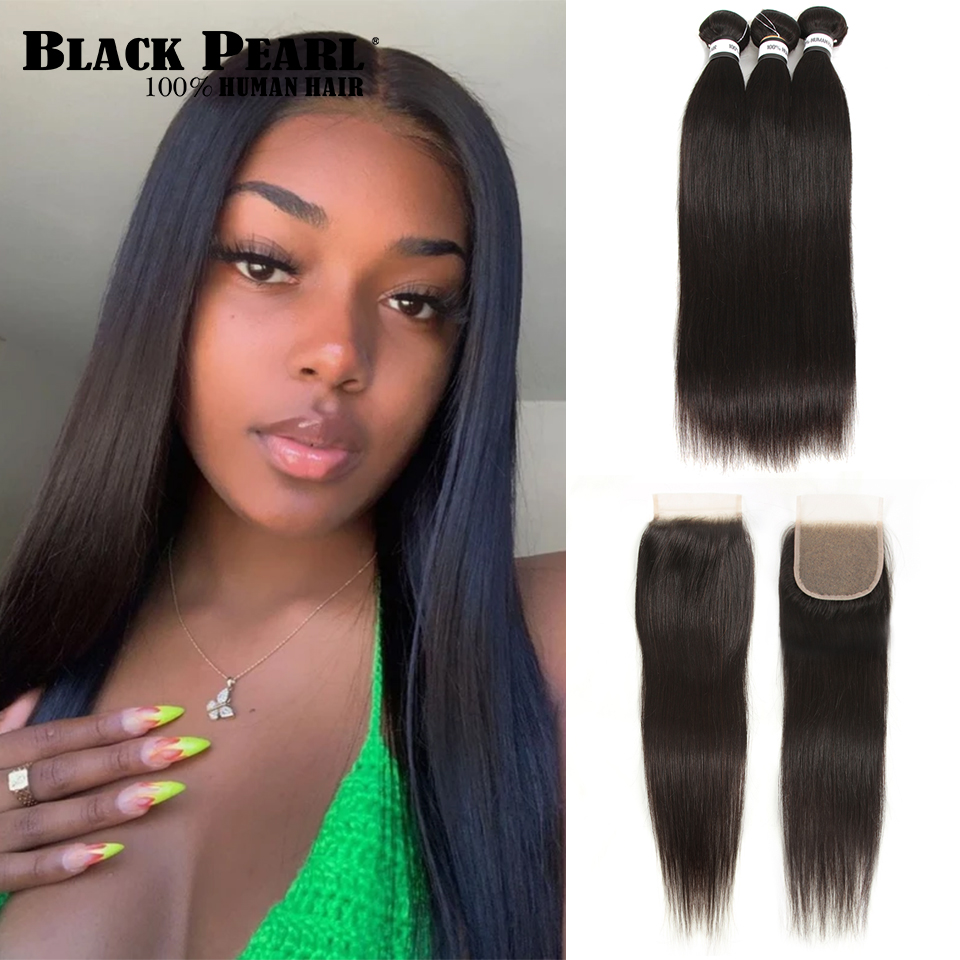 Black Pearl Bundles With Closure Bleached Knots  Brazilian Straight Remy Human Hair Bundles With Transparent Lace Closure