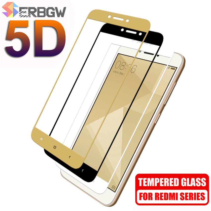 5D Protective Glass On The For Xiaomi Redmi 4A 4X 5A 5 Plus 6 6A 7A Redmi Note 4 4X 5 Pro Tempered Glass Screen Protector Film