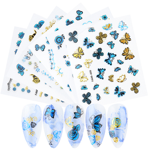 3D Nail Sticker Flower Butterfly Nail Deacals Liner Leaf Nail Designs for Nail Manicure Art Decorations Accessories LAFAM001-015