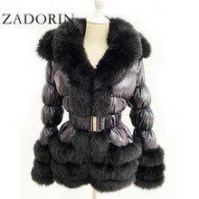 ZADORIN 2020 Winter Warm Detachable Down Jacket Women Furry FAUX Fur Collar White Duck Down Jacket Winter Down Coat With Hooded