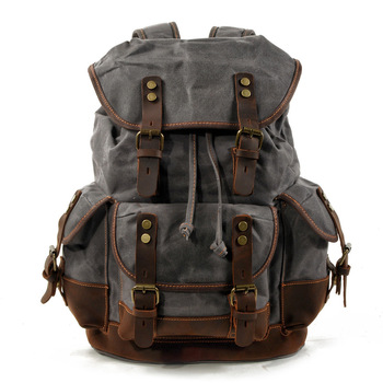 Cotton Oil Wax Canvas Backpack Mens Large Capacity Vintage Waterproof Backpack 15'' Laptops Daypacks Rivets bookbag