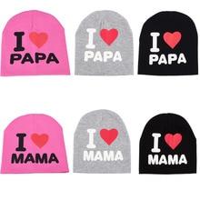 Весна осень унисекс для маленьких мальчиков и девочек дети младенец Начинающий ходить малыш теплый зимний хлопок мягкие милые шапки шапка бини I LOVE PAPA MAMA Print