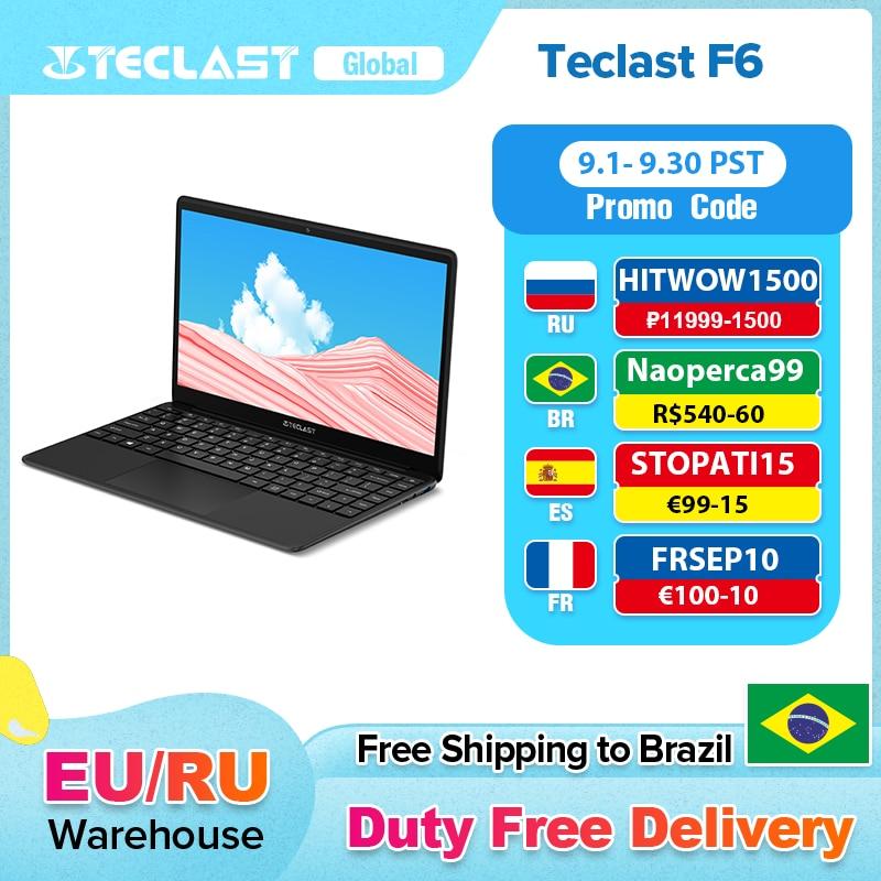 Teclast F6 מחשב נייד 13.3 אינץ FHD IPS 1920x1080 Intel אפולו אגם Windows 10 מחברת 8GB LPDDR4 128GB SSD הכפול Wi-Fi