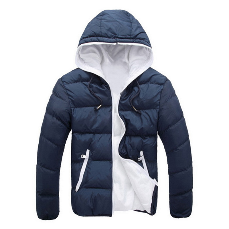 Men's Winter Jackets Fashion Patchwork Cotton Slim Fit Coat Thick Warm Homme Zipper Casual Hooded Parka Jacket