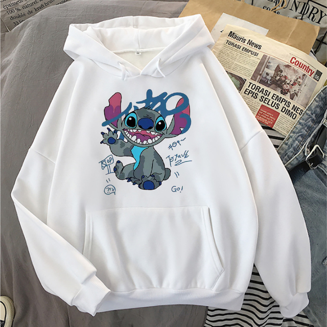 Disney Stitch Hoodies Women Harajuku Pullovers Cute Kawaii Casual Tops O-Neck Angel Print Hooded Sweatshirt Long Sleeves 3