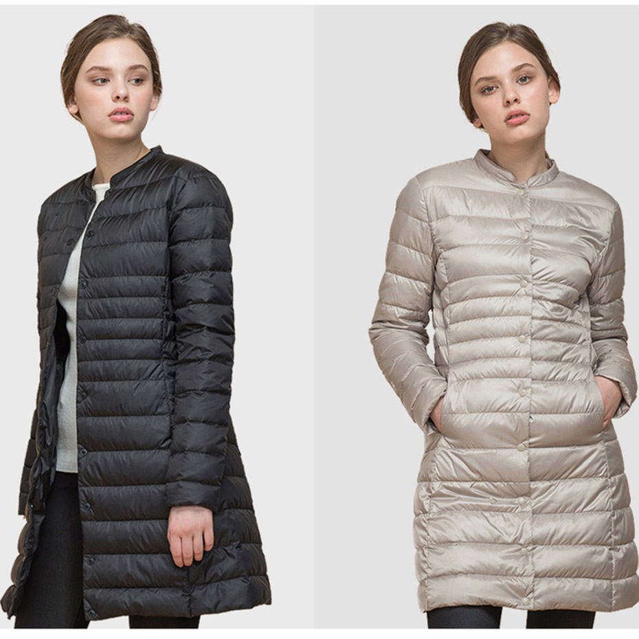 ZOGAA Winter Woman's Cotton Padded Warm Long Coats Ultra Light Duck Down Parkas Overcoat Slim Solid Jackets Causal Parkas Jacket