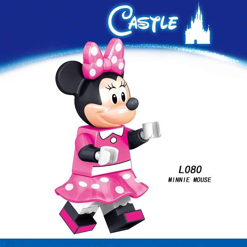 Legoed dibujos animados minifiguras pato Mickeyed Minnie Mouse Donald TinkerBell Playmobil bloques de construcción figuras niños juguetes de regalo