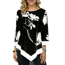 Women Ladies Floral Shirt Casual Irregular Long Sleeve