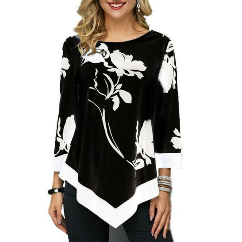 Women Ladies Floral Shirt Casual Irregular Long Sleeve Blouse Loose Tunic Top Plus Size Ladies Blouses 5XL Shirts Roupa Feminina