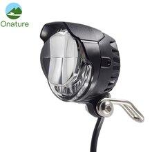 Onature e fahrrad licht scheinwerfer 85 lux eingang DC 12V 36V 48V 60V ebike lampe installieren lenker LED elektrische fahrrad licht mit horn