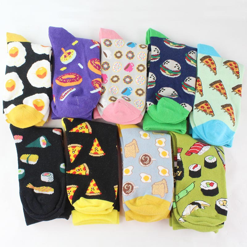 Heb402fad550644f4a101da4b0b1ef4d7I - Women Happy Funny Socks With Print Art Cute Warm Winter Socks With Avocado Sushi Food Cotton Fashion Harajuku Unisex Sock 1 Pair