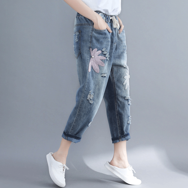 <font><b>4XL</b></font> <font><b>Tallas</b></font> Grandes <font><b>Mujer</b></font> Cargo Pants Women Harajuku Pants Embroidered Jeans Spodnie Damskie Vetement Femme Mom Jeans Blue Jeans image