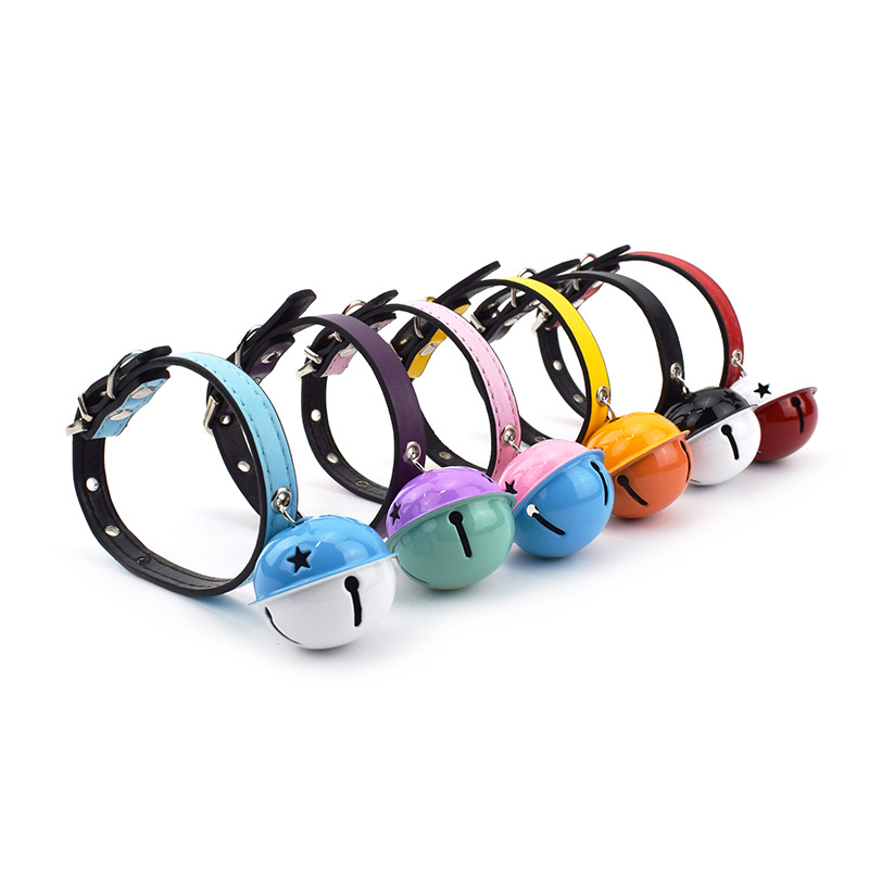 Pet Dog Collar Double Color Large Bell Pu Dog Neck Ring Teddy Than Panda Bandana Chain Bell Neck Ring