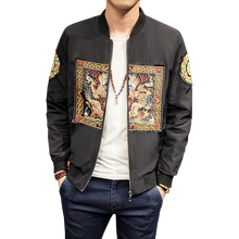 2019 autumn new style men's fashion jacket Chinese style robes embroidered men's retro large size stand collar jacket S-5XL