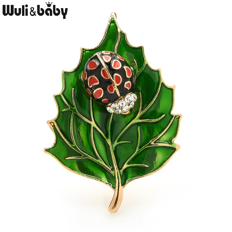 Wuli&baby Beetle Leave Brooches For Women Classic Enamel Insect Party Office Brooch Pins Gifts