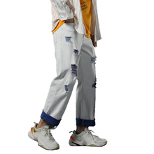 Man Straight Jeans loose Ripped Holes Men Jean Spring Summer Ins Style Hip Hop skateboard Male Denim Cool Pants цена