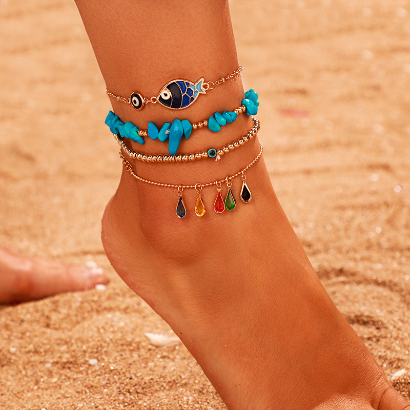 Tocona 4pcs/sets Colorful Rhinestone Natural Stone Anklets for Women 2020 Gold Bead Fish Foot Chain Summer Jewelry 9083