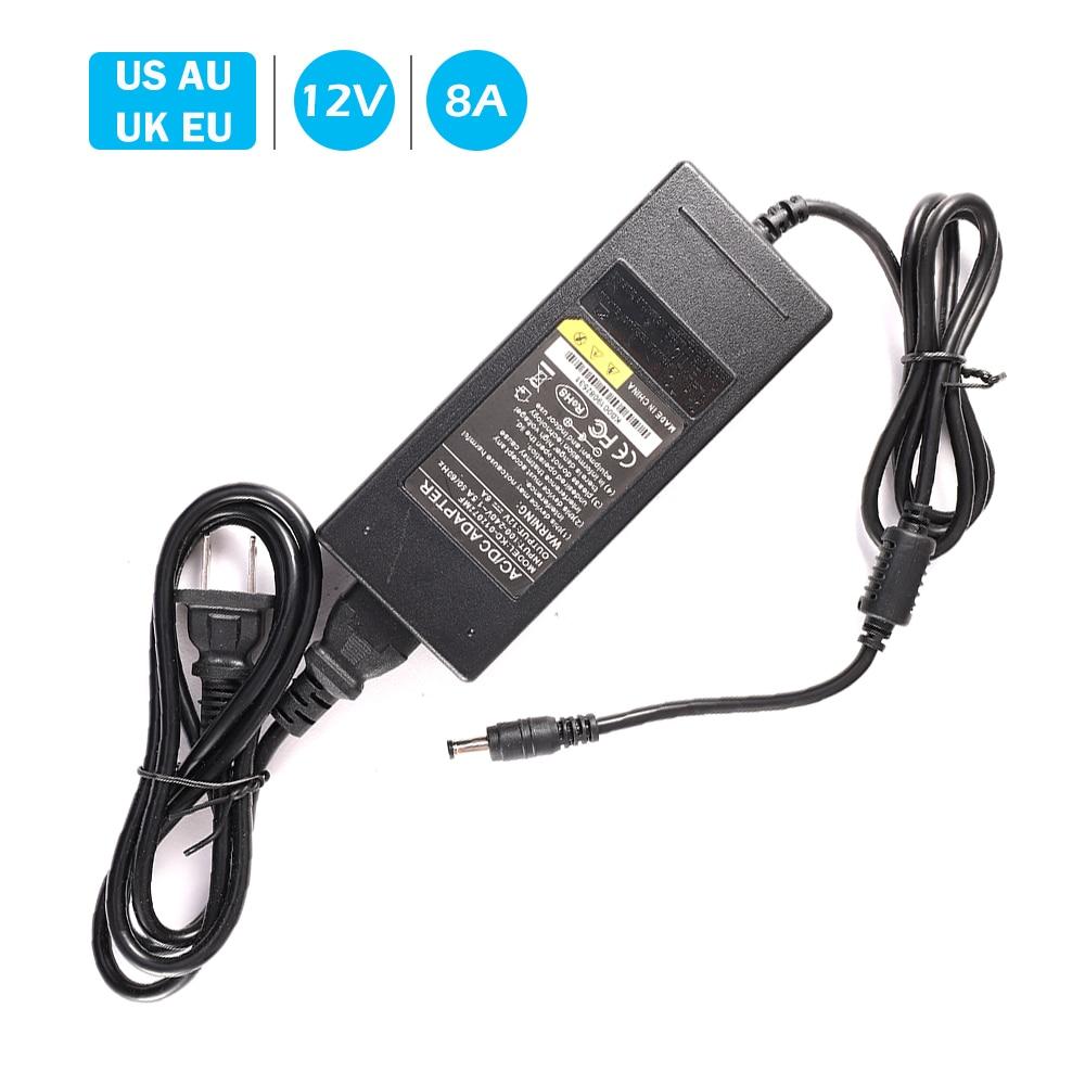 Adaptateur dalimentation 12V8A cc 12 V 8A  Adaptateur électrique 220V à 12 V Volt, convertisseur de commutation universel, prise ue US UK AU 220V à 12 VAccessoires de vidéosurveillance   -