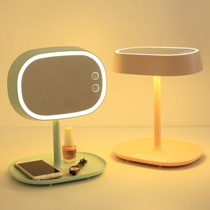 Image 3 - Rechargeable Touch Screen Lighted Makeup Mirror LED Bedside Lamp Table Stand Cosmetic Mirror Night Light