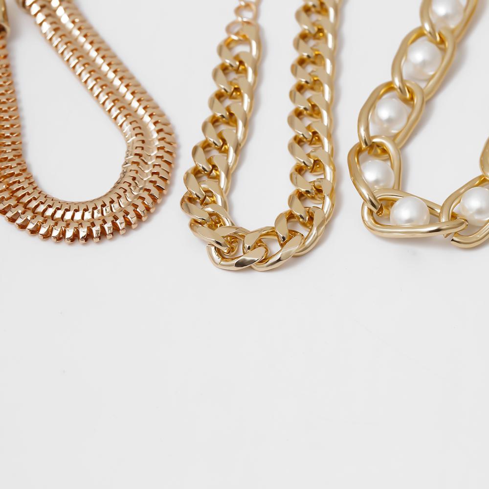 3Pcs/Lot Punk Cuban Thick Bracelet Bangle Chunky Heavy Metal Imitation Pearl Bracelet Wrist Chain Jewelry