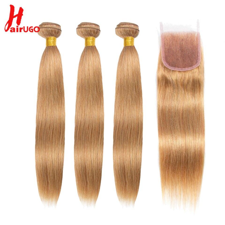 HairUGo saç bal sarışın demetleri ile kapatma 27 # brezilyalı saç kapatma ile 3 demetleri düz Remy insan saçı örgüsü demetleri