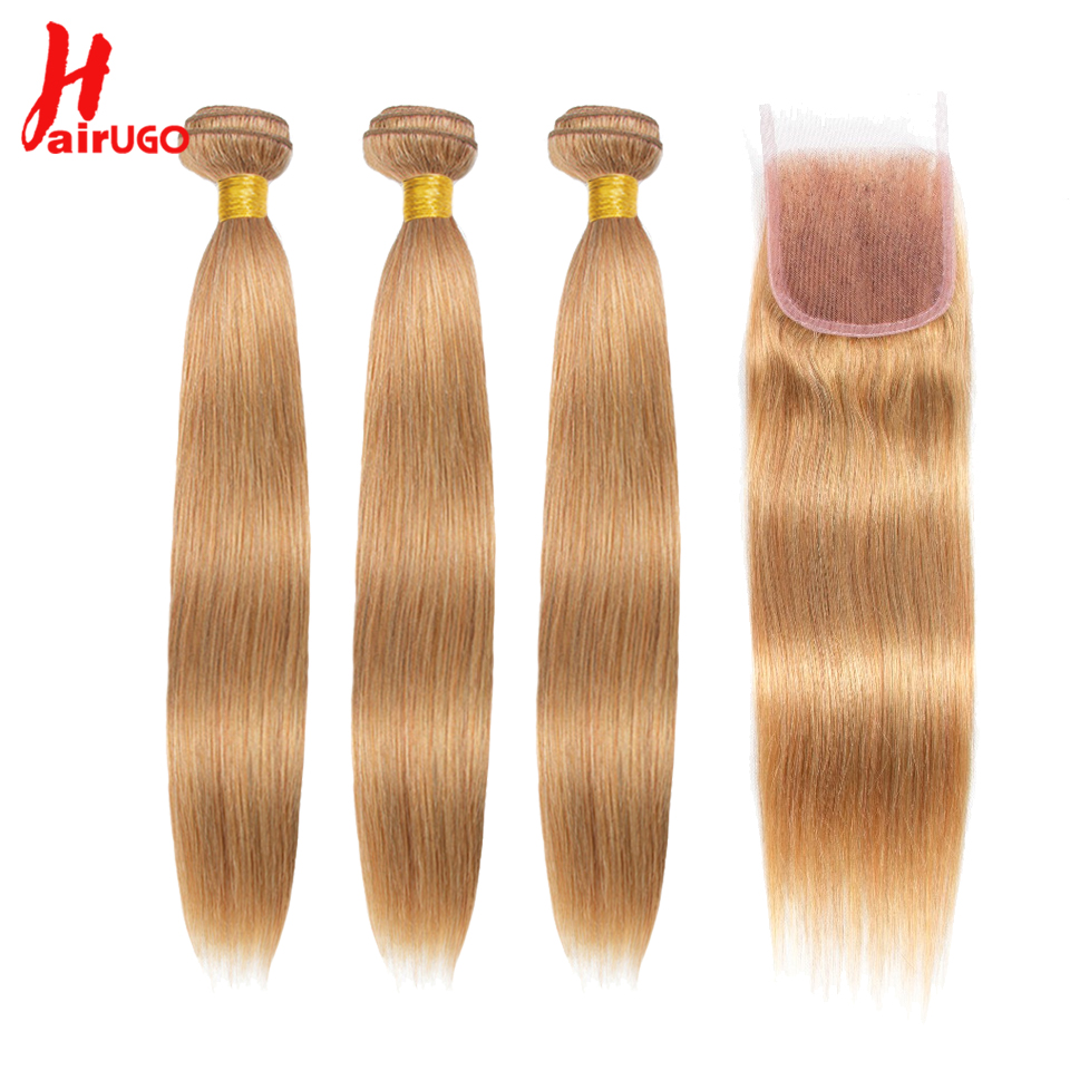 HairUGo cabello rubio miel paquetes con cierre 27 # pelo brasileño 3 paquetes con cierre recto Remy cabello humano tejido paquetes-in Paquetes con cierre 3 / 4 from Extensiones de cabello y pelucas on AliExpress - 11.11_Double 11_Singles' Day 1
