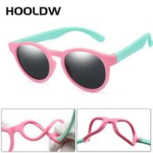 UV400 HOOLDW Crianças Óculos Polarizados Rodada Bonito Crianças Óculos de Sol Meninos Meninas Silicone Bebê Máscaras Óculos de Segurança Flexível