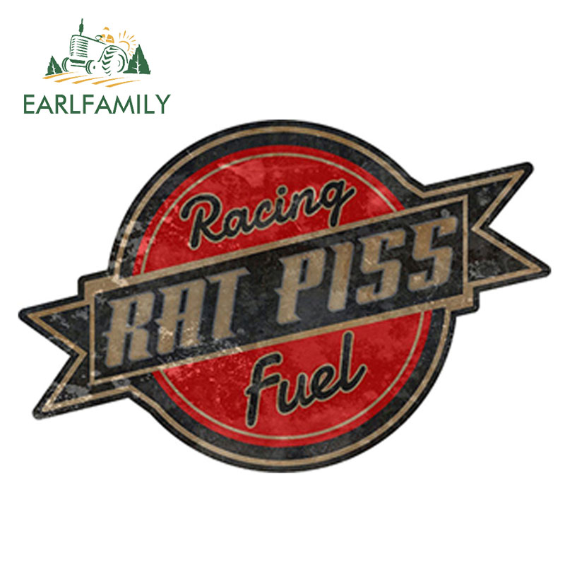 EARLFAMILY 12cm X 8.5cm Rat Rod Rat Piss Racing Fuel Decal Racing Parts Car Sticker Bumper Window Side Decal DIY Car Body Decals