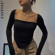 FANTOYE zimowy seksowny, obcisły czarny koszula z długim rękawem kobiety moda kwadratowy kołnierzyk asymetryczne koszulki kobieta solidna Slim Backless Tee
