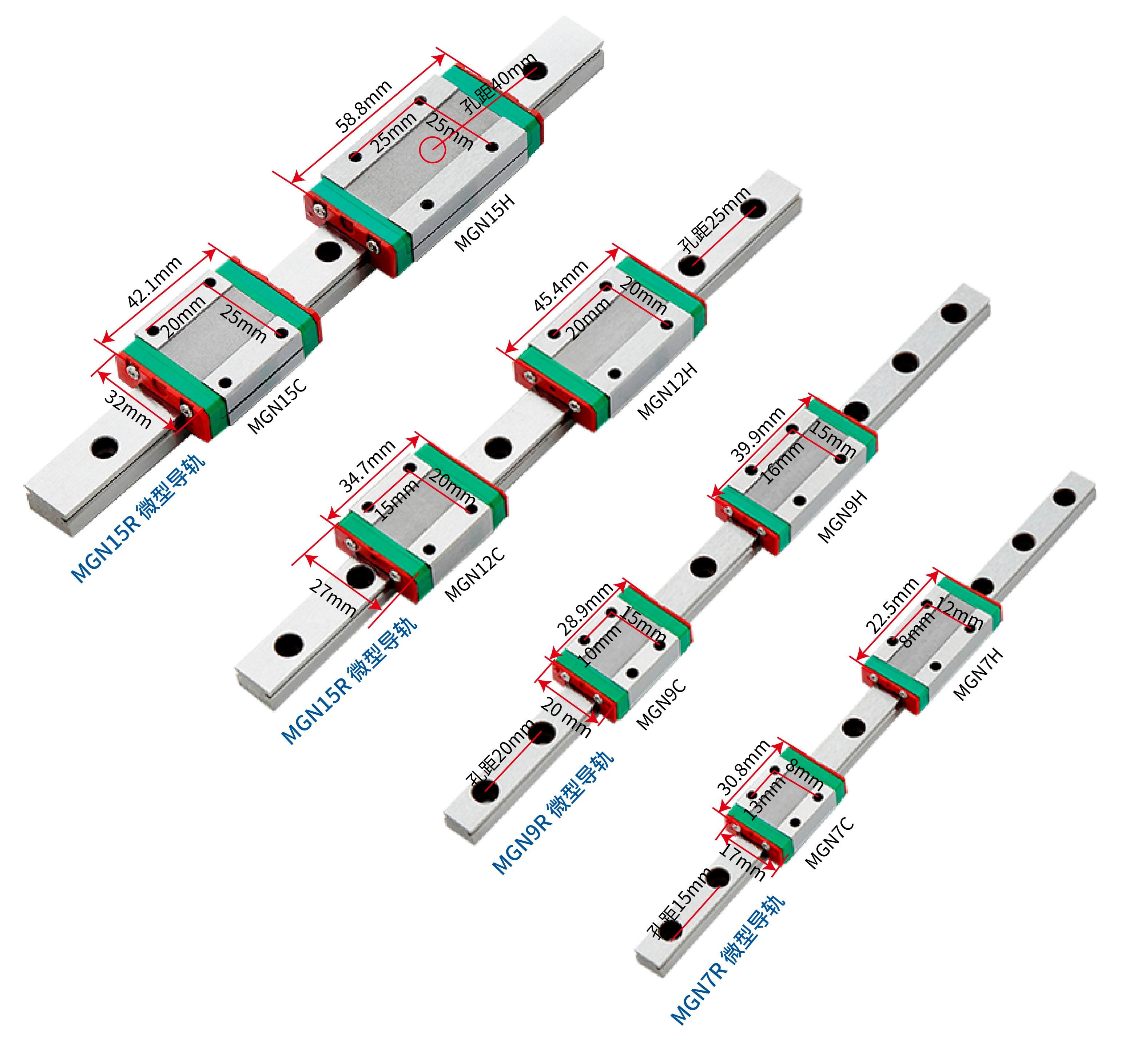 MGN9 MGN12 MGN15 100 200 250 300 350 400 450 500 550 600 700 800 Mm Linear Rail +MGN9H MGN12H MGN15H MGN9C MGN12C MGN15C Block