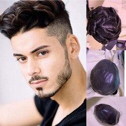 Bymc peruca masculina completa do plutônio peruca masculina peças de cabelo straighair unidade sistema de substituição do cabelo cor preta natural 8x10 polegadas peruca para homem