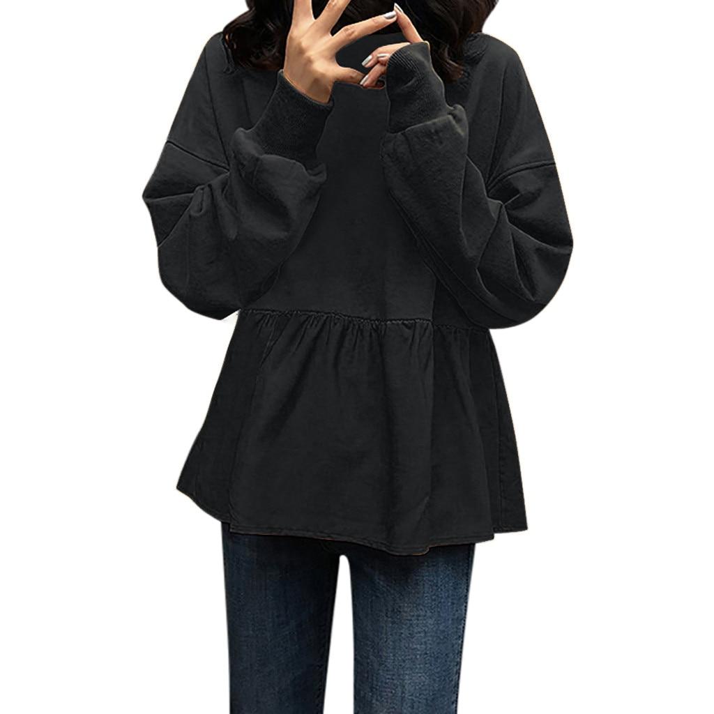 Women Loose Splice Solid Ruffle Fold Long Sleeve O-Neck  Sweatshirt Tops Harajuku Sweatshirt джемпер женский *S5
