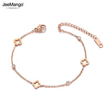 JeeMango Stainless Steel CZ Crystal Flower Plant Charm Bracelets For Women Girls Rose
