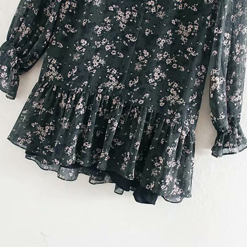 Women Ruffle Bow Tie Mini Floral Print Dress Vintage Long Sleeve Vestido Casual Loose Pleated Ladies Dress Ruffles Party Dresses 3