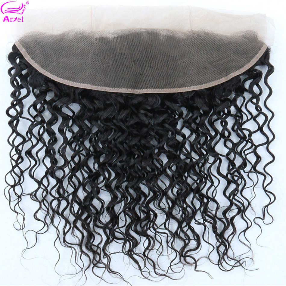 Water Wave Frontal Transparent Lace Frontal 13*4 Human Hair Closure Cheveux Humain Brazilian Remy Hair Swiss Lace Frontal Ariel