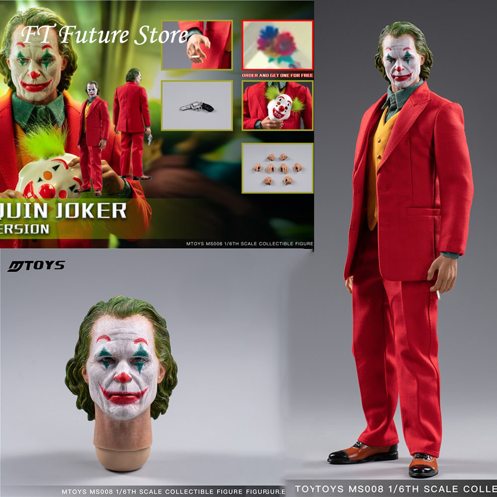 In Stock Collectible 1/6 MTOYS MS008 Joaquin Joker Red Suit Ver. Makeup Head Sculpt With Mask Set Full Set Action Figure Model