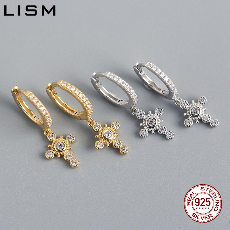 LISM Solid Silver 925 Sterling Silver Women Fashion Star Charming Cubic Zirconia Drop Earrings Gift For Women Girfriend