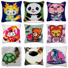 Latch Hook Kit Animals Panda Cushion Cover Pre-Printed Canvas DIY Yarn Crochet Crafts Pillow Case 43x43cm Sofa Bed Cushion Front(China)