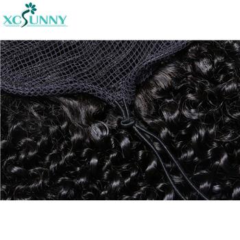 Sznurkiem perwersyjne kręcone kucyk ludzki włos włosy brazylijskie Remy koński ogon przedłużanie włosów dla czarnych kobiet xcsunny tanie i dobre opinie Włosy remy 100 g sztuka Tylko ciemniejszy kolor Na klipsy Realny kolor Brazylijskie włosy