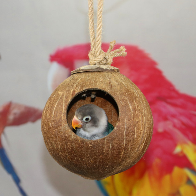 Natural Coconut Shell Bird Cages Parrot House Nesting House Cage With Hanging Lanyard For Small Pet Parakeets Finches Sparrows 4