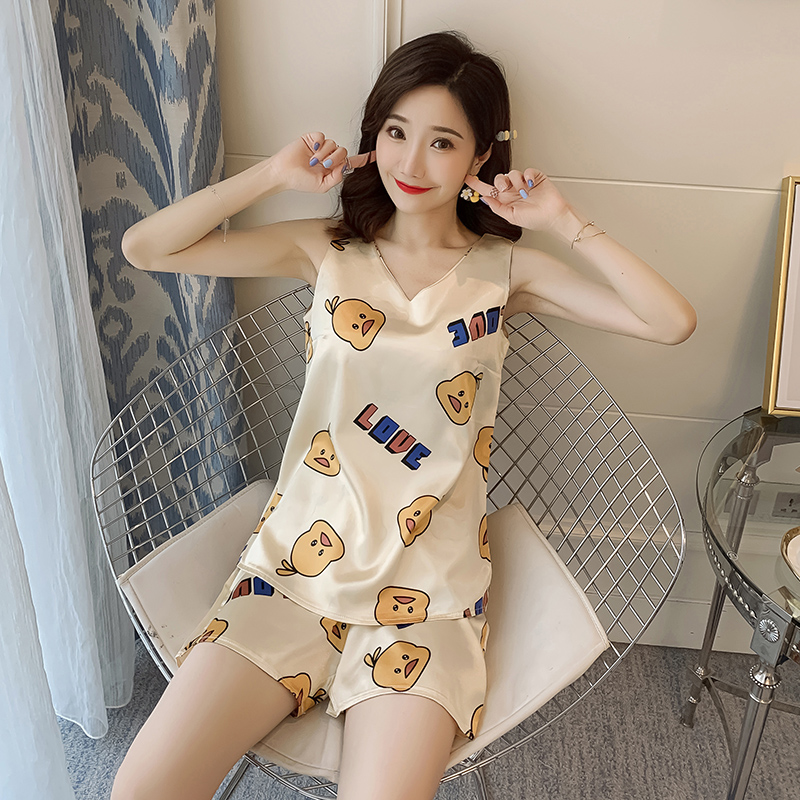 2pcs Women Sleepwear For Summer Short Ice Silk Vest Pajamas Sets 2020 Girl Print Pyjama Set Women Nightshirt Sets Sexy Home Wear