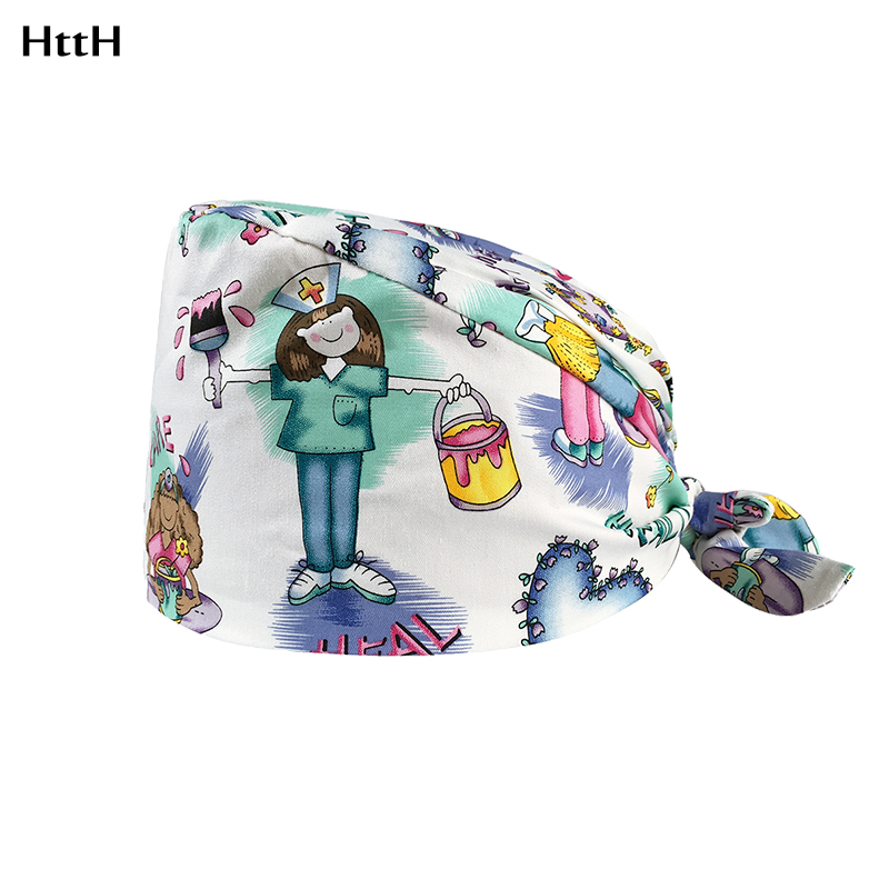 2020Cotton Printing Operating Room Hats Medical Surgical Hat For Long Hair Pet Doctor Nurse Work Hat Dental Clinic Nursing Caps