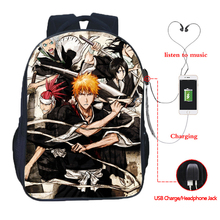 Manga Death God USB Charging Backpack Men and Women Boys Girls Rucksack Fashion Daily
