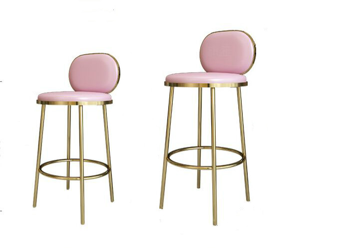 Bar Chair Light Luxury Household Stainless Steel Metal Golden Bar Stool Modern Simple High Chair Bar Chair Backrest Bar Stool