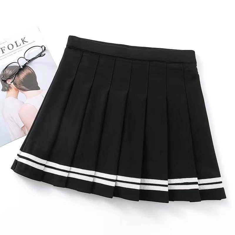 Short skirt female high waist pleated skirt a line skirt college style kawaii skirt female lolita  net red hot sale 3