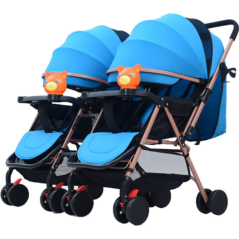 Twin Baby Stroller Detachable Two-way Double Light Can Sit Can Lying Folding Multi-tuber Trolley Double Stroller Pram